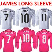 KROOS JAMES Real Madrid Long Sleeve Jersey 2015 PINK BALE RONALDO Real Madrid Long Sleeve Soccer Jersey 14 15 Football Shirt Kit(China (Mainland))