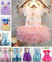 SQ134 Free Shipping Retail Custom-Made Movie Baby Dress Summer Girl Dress Princess Elsa Dress For Children Princess Dress