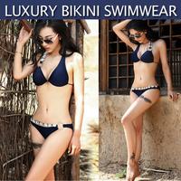 Free shipping 2014 Hot sale perfect luxury Dark blue temperament sexy bikini Swimwear #ZFC400