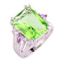 Wholesale Dreamlike Emerald Cut Green Amethyst & Amethys Silver Ring Size 7 Jewelry Fashion Ring For Women