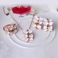 2014 new Rose Gold Plt  Elements Austrian Crystal white Enamel Flower/Wedding necklace earrings ring jewelry sets CS107
