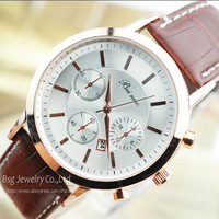 2014 Luxury Brand New favorite Rose Gold Fashion Male Dress Casual Clock men's Quartz Wristwatches Auto Date Calendar man watch