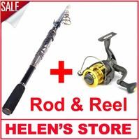 Telescopic carp fishing rod carbon spinning rod pole and fishing reel 6 BB shinning reel free shipping