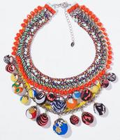 G1109  Wholesale  NEW HOT SALE trendy Fashion multi round cotton fabrics collar ball  pendant Necklace &  nickel free pendant