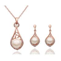 Fashion 18K white gold plated austria crystal women Angel tears pendant necklace/earrings bride wedding Jewelry Sets