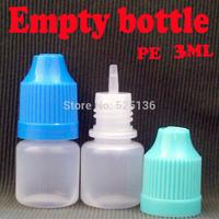 100pcs/lot LDPE Empty Bottle Bottle 3ml Plastic Dropper Bottle For Electronic Cigarette eGo e cig Empty Bottle Free Shipping