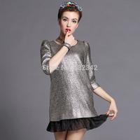 2014 new A-line luxury women's fashion organza stitching hem dress plus size gold mini dress for party xl,2xl,3xl,4xl,5xl