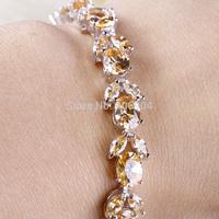 Wholesale Fashion Lady's 925 Silver Oval Cut Morganite Yellow 925 Silver Bracelets Gorgeous Jewelry