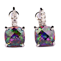 Free Shipping  Women's Party Fashion Jewelry Cut Mystic Rainbow Topaz & White Sapphire Dangle Hook 925 Silver Earring Wholesale