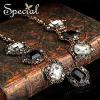 Special Black White Zircon Pendant Free Shipping Big Jewel Women Necklace Vintage Alloy Necklace XL141161