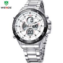 Weide relojes deportivos para hombres acero lleno militar reloj analógico y LED Digital de cuarzo multifunción buceo impermeable reloj Casual