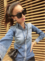 Free Shipping 2014 Spring Women Slim Shell Button Gradient Color Denim Shirt Outerwear Female Denim Long-sleeve Shirt LSP8101LQY