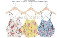 2014 Summer Fashion Women's Fashion Fresh Fweet Small Print Chiffon Spaghetti StrapTop Tank Plus Size Free Shipping HHY8253LQY