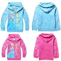 Retail! 1PC 2014 New Arrival Child Boys girls Frozen Hoodies Elsa and Anna cartoon Long Sleeve tops Sweatshirts kids wear