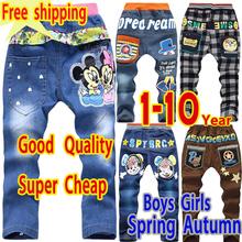trasporto libero di vendita al dettaglio 2014 nuovo 3-4-7 anni molla di arrivo autunno bambino dei jeans primavera bambini jeans del bambino di modo del ragazzo dei jeans pantaloni(China (Mainland))