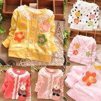 2014 new baby girl cardigan flower lace children outerwear baby casual sweater Cute Rabbit cardigan for girls free shipping