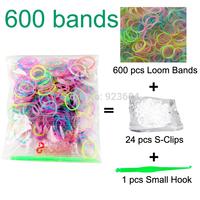 100 Packs/lot (600 Bands + 24 S-Clips + 1 Small Hook) Loom Bands Kit Rubber Loom Bands DIY Bracelet Shipping FedEX/TNT (LB-01)