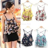 Regatas Femininas 2014 New Summer Tank Tops Spaghetti Strap Sexy Floral Print Chiffon Blouse Vest Crop Tops Women camisole Y3758