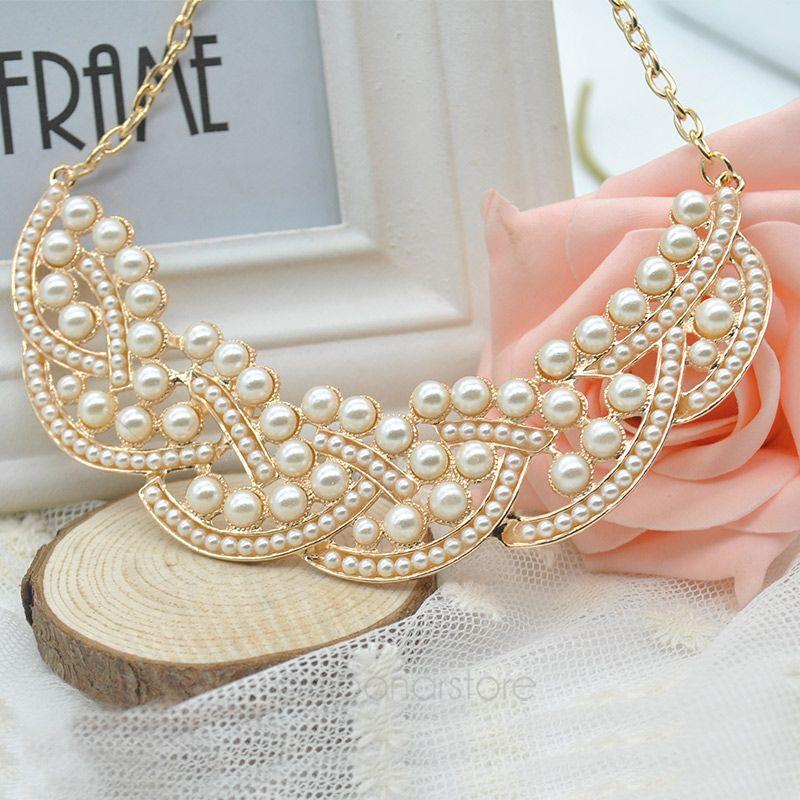2015 Wholesale Hot Design Fashion Pearl Hollowed Golden Choker Bib Collar Necklace Pendant Women Female XMHM015(China (Mainland))