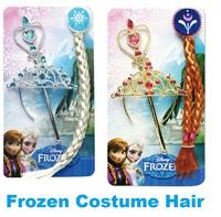 10pcs/lot Elsa Anna Frozen Ornaments Frozen Magic Wand Rhinestone Crown Hair Band Hairpiece Girls Wig opp package
