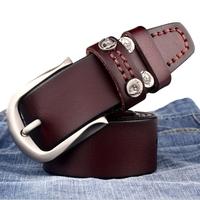Vintage Rivet Belts For Men Genuine Cowhide Leather Belt Cinto 3 Colors Free Shipping B42