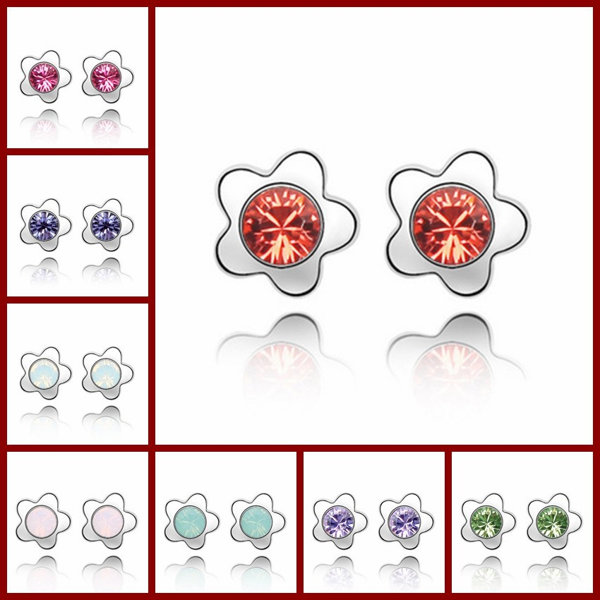 Stud earrings, 2014 fashion earrings for women jewelry, Authentic Austrian crystal stud earrings(China (Mainland))