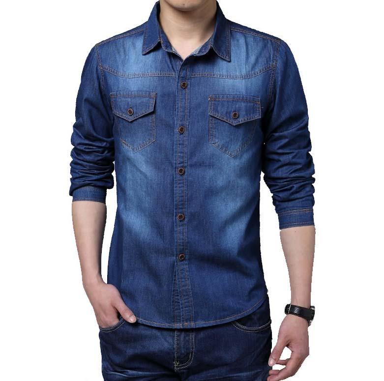 Compra los hombres camisa de jean online al por mayor de