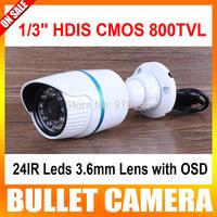 """1/3"""" HDIS 800TVL CCTV CMOS board HD8050 238 waterproof 24IR 3.6mm OSD Menu security mini Bullet camera"""