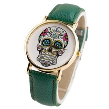 Free shipping Self wind skull pattern fashion art quartz watch Trendy cool casual woman watches 2014