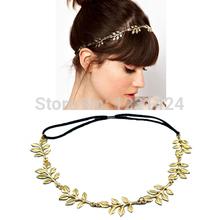Novas mulheres preto Elastic Band moda cabeça cadeia elegante Hairbands acessórios banhado a ouro Olive Leaves Tiara A00088(China (Mainland))