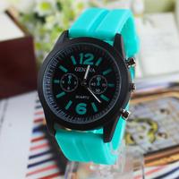 2014 New Fashion GENEVA silicone jelly Watch For Women Men sports Watches military Quartz watch