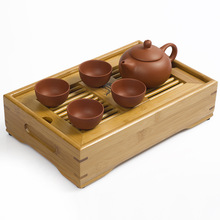 JiaLe Free Shipping Drinkware ZiShaTea Servic,27*17*6.5CM BambooTea Tray,Teapot,Tea Ceremony,Mini-Tea Set Travel High-Quality