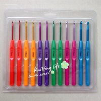 12Pcs/Set 6Sizes 2.5-5.0mm Multicolour Plastic Aluminum Crochet Hooks Knitting Needles ,Knitting Tools