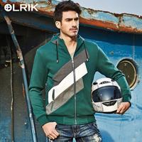 OLRIK 54.3% Cotton 45.7% Polyester Fiber Men Clothes Fashion Mens Zipper Hoody Collar  Jacket With Cap 3 Colors Hoodies