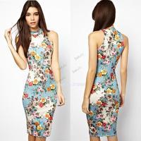 Chinese QiPao Dress!!!Women Ladies Flower Printed Sleeveless Off Shoulder Knee Length Slim tang suit cheongsam B12 SV005832