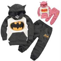 2014 Cute Fall&Winter Kids Clothes Sets Retail Causal Cartton Batman Girls Boys Sweatshirt&Pants Fashion Children Hoody Set 015