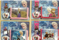 12pcs/lot New Arrival 4 styles frozen drawstring bags two-sided bags frozen watch and wallet  Anna Elsa Children's backpack