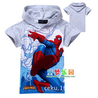CS018 Free Shipping 2014 New Children T Shirt Kids Cartoon T Shirt Baby Boy Spiderman T Shirt  Kids Short Sleeve Hoodies Retail