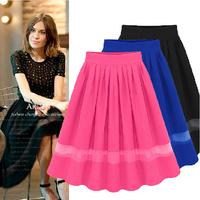 S~XXL Chiffon skirts women's plus size high waist midi pleated skirt female