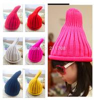 Winter hat Girls and boy Handmade Crochet Knitting Beret Hat Cap Cute Warm Beanie 7Colors   1PC