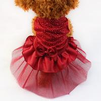 Armi store Dog Cat Bow Tutu Dress Lace Skirt 71007 Pet Puppy Dress Skirts Red / Blue / Golden Free Shipping