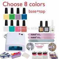 BURANO Nail Art kit  Set Soak Off Uv Gel nail kit Polish Manicure set Topcoat+basecoat +4color nail gel kit 36W Lamp 002 NEW