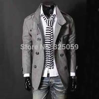Men's wool coat Fashion Men Woollen Coat Winter Jacket Overcoat Slim Pea Coat Man Europe Stylish