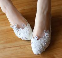 ( Heel 3cm ) low heel Handmade crystal wedding shoes white low heel lace bridal wedding pumps shoe white