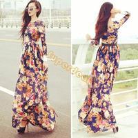 2014 New Women's Summer Sexy Style Flower Print vintage Long Sleeve Maxi Ladies Party Evening Chiffon Beach Dress B16 SV005217