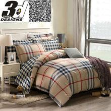 boys Stripes/Plaid bedding set queen king size reactive print bedclothes 100% Cotton Comforter cover +sheet + Pillowcases(China (Mainland))