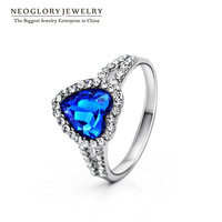 Neoglory Heart Crystal Austria Rhinestone Engegement Charm Wedding Rings for Women Fashion Jewelry Accessories 2014 Gift New