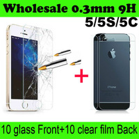 Free Shipping High Quality Premium Tempered Glass Screen Protector For iPhone 5 5S 5C Protective Film without retail package