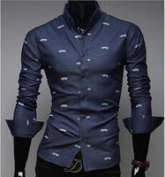 2 Color 2014 New Style Beard Print Brand Men's Casual Denim Slim Fit Lapel Cotton Blouses Shirts Long Sleeve Camisas Shirt AX182