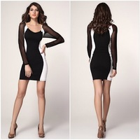 2014 New Women Fashion Casual Autumn Long-sleeved spliced Patchwork Panelled Contrast Color Sheath sexy club silm O-Neck Dress